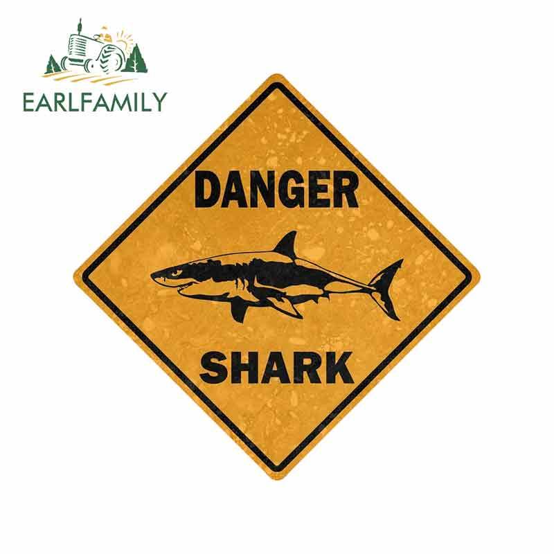 EARLFAMILY 13cm x 13cm Car Sticker Decal Car Bike Motorcycle Danger Sign Shark Area Surf Bumper Decor