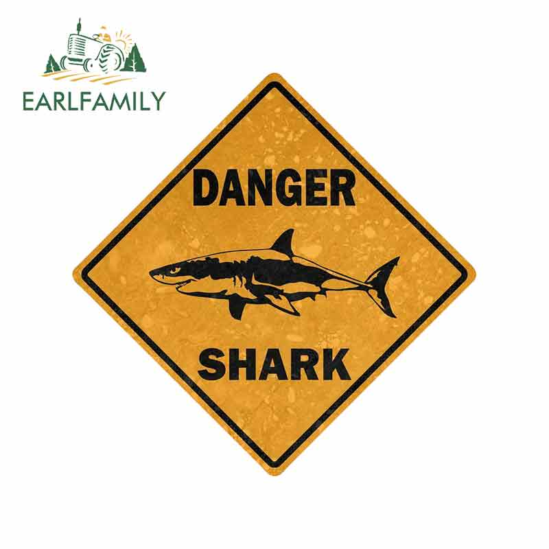 EARLFAMILY 13cm x 13cm Car <font><b>Sticker</b></font> Decal Car <font><b>Bike</b></font> Motorcycle Danger Sign Shark Area Surf Bumper Decor image