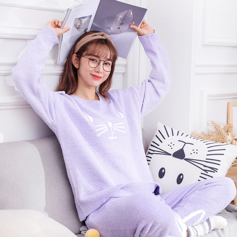2018 Autumn And Winter New Style Fashion Pajamas Comfortable Soft Breathable Pajamas Knitted Cartoon WOMEN'S Suit