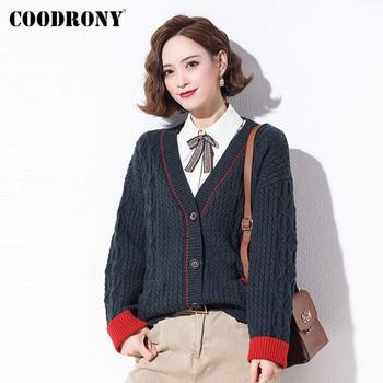 COODRONY Brand Casual V-Neck Warm Female Pocket Cardigans 2020 Autumn Winter Streetwear Soft Wool Womens Oversize Sweater W1089