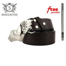 Leather Belts with Wing & Heart Design Silver Belt Buckle Clothes Fashion Mens Head Drop Shipping