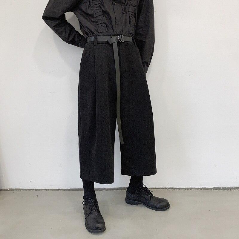 Men Black Loose Casual Woolen Wide Leg Pants With Belt Male Japan Streetwear Hip Hop Gothic Straight Harem Trouser Kimono Pant