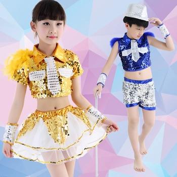 Girl and Boy Jazz Dance Costume Children Modern Dance Clothing Hip-hop Clothes Boys Girls Sequins Jazz Dance Costumes
