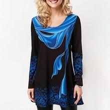 Plus Size 4xl 5xl 2019 Women New Summer Boho Print Blue Tops Long Sleeve Elasticity Female T-