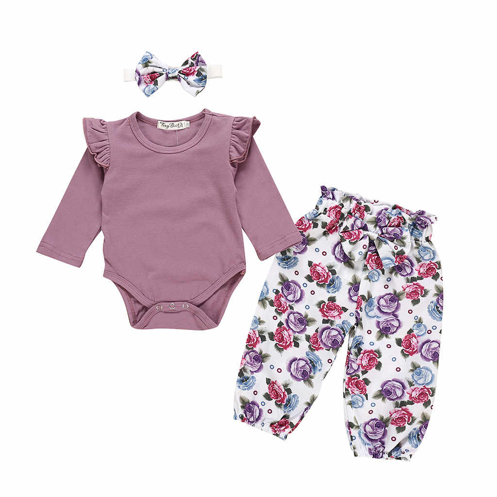 Cute Newborn Infant Baby Girls Clothes Long Sleeve Romper Playsuit Floral Pants Headband Outfit Baby Girls Set 2pcs 0-24M