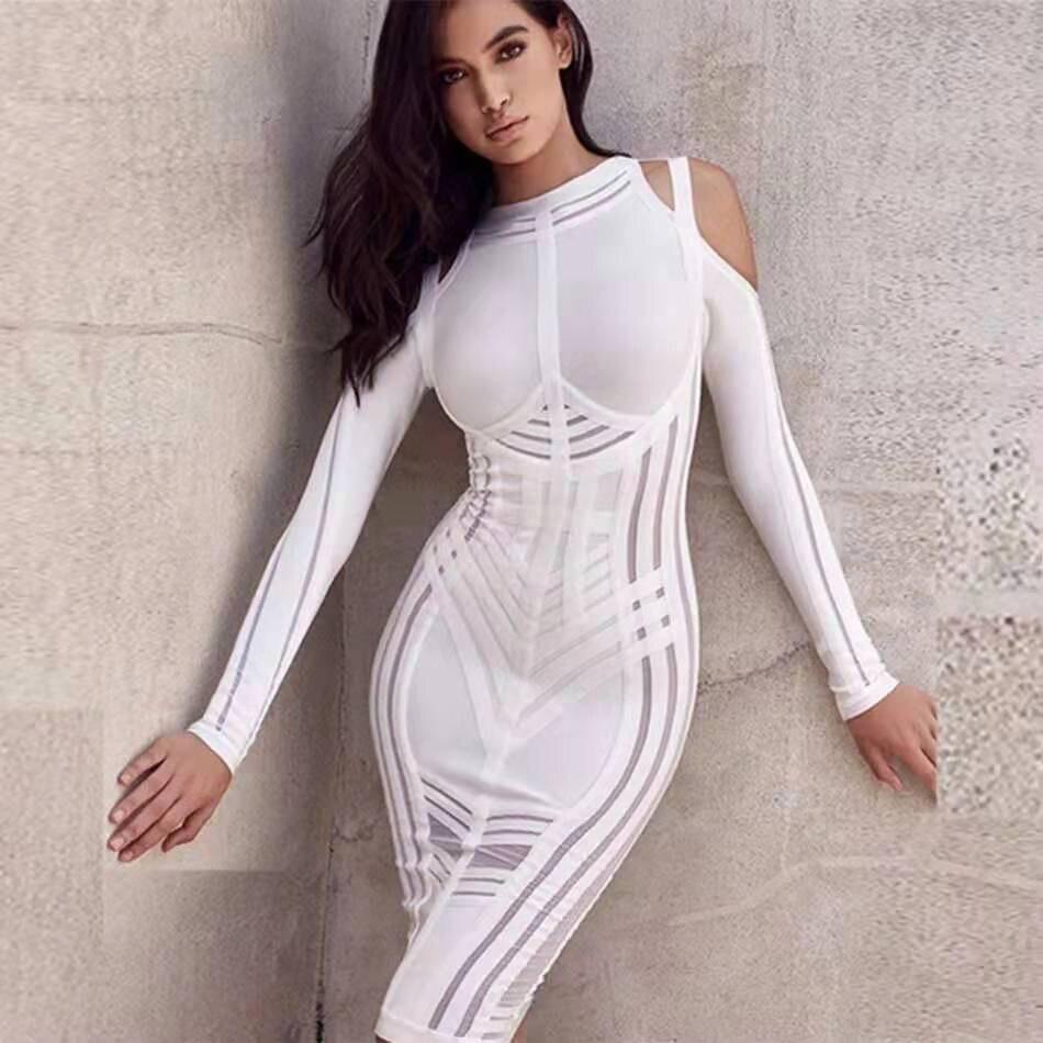 2019-Autumn-New-Sexy-Women-S-Bandage-Dress-Long-Sleeved-Mesh-Stitching-Bodycon-Dress-Club-Celebrity (3)