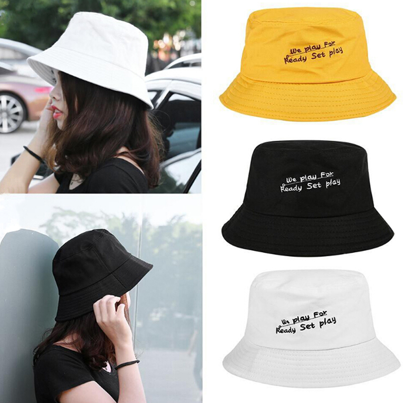 Fashion Lovers Cotton Embroidery Letter Wide Brim Bucket Hat Unisex Outdoor Fishing Travel Sun Folding Hats Casual Fisherman Cap