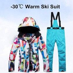 Nieuwe Dikke Warm Skipak Vrouwen Waterdicht Winddicht Skiën En Snowboarden Jas Broek Set Vrouwelijke Sneeuw Kostuums Outdoor Wear