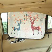 Universal Car Windshield Sunshade Side Adjustable Protector Solar Coche Cute Cat Deer Window Curtain