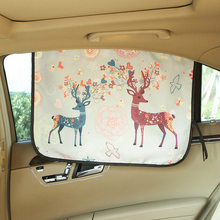 Universal Car Windshield Sunshade Side Adjustable Protector Solar Coche Cute Cat Deer Window Sunshade Curtain Car Window Curtain