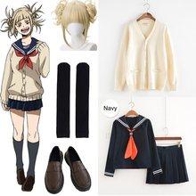 Traje Cosplay Anime Academia My Hero Cosplay Boku no Hero Academia Himiko Toga JK uniforme de las mujeres trajes de marinero con suéteres