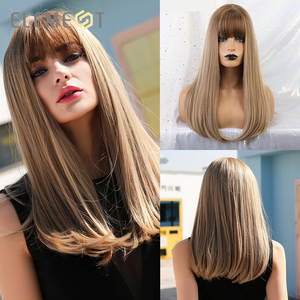 """Image 1 - Element 18"""" Blonde Synthetic Wig with Bangs Long Straight Natural Headline Heat Resistant Hair Cosplay Party Wigs for Women"""