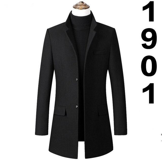 Men Winter Wool Blend Stand Collar Button Long Coat Parka Trench Jacket Outwear