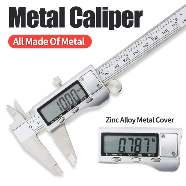 Digital Metal Calipers 6 Inch 0 150mm Electronic Measuring Tools LCD Gauge Micrometer Ruler Stainless Steel Vernier Caliper tool Calipers    -