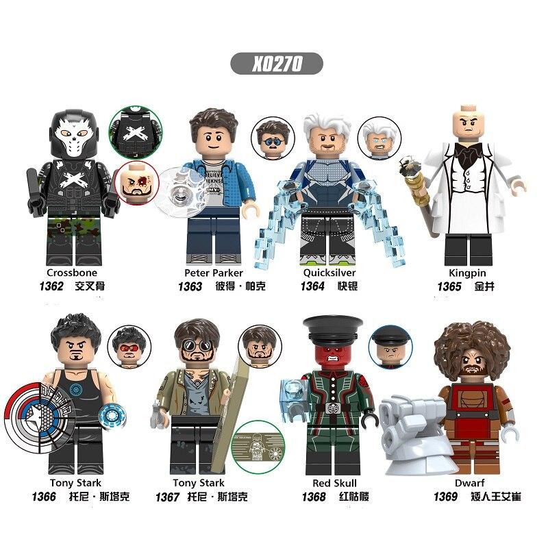 Building Blocks Super Heroes Bricks Crossbone Peter Parker Quicksilver Kingpin Tony Stark Figures For Children Model Toys X0270