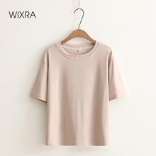 Wixra Womens Summer Solid T-Shirt Tops O-neck Short Sleeve Basic Loose Tee Japan Style Tops For Ladies