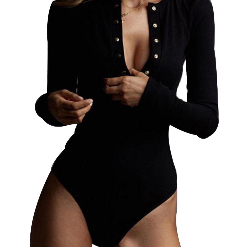 Womens Bodysuit Fashion Long Sleeve Solid Black Button Casual Bodysuit Jumpsuit Romper Jumper Leotard Blouse Top