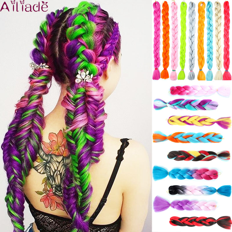 AILIADE 24inch Ombre Crochet Synthetic Kanekalon Jumbo Braiding Hair Bundles Black Purple Rainbow Braids Fake Hair Extensions