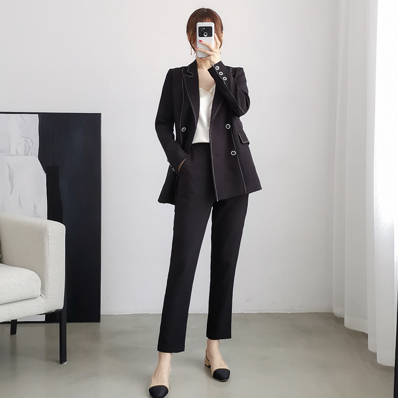 High Quality Autumn And Winter Women's Suits Temperament Double Breasted Loose Black Blazer Large Size XL-5XL Casual Pants Suit