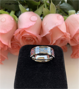 Image 4 - Mannen Vrouwen Tungsten Wedding Band Met Mechanische Tandwiel En Licht Blauw Carbon Fiber Inlay 8 Mm Ring Box Beschikbaar