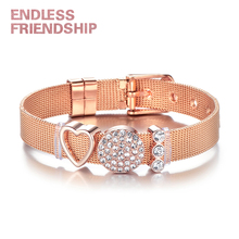 Couple Jewelry Fashion Stainless Steel Mesh Bracelet Rose Gold Crystal Heart Charms Brand Bracelets Set For Lovers Gift vinnie design jewelry stainless steel mesh keeper bracelet with rose gold diy slide charms bracelets sets