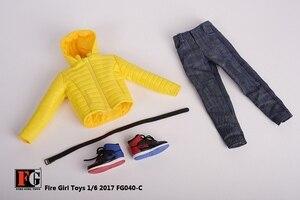 Image 5 - 1/6 skala Männlichen Kleidung Set FG040 Unten Jacken Mantel Kleidung Schuhe Anzug Schwarz/Gelb/Rot Fit 12 Zoll körper Action Figur