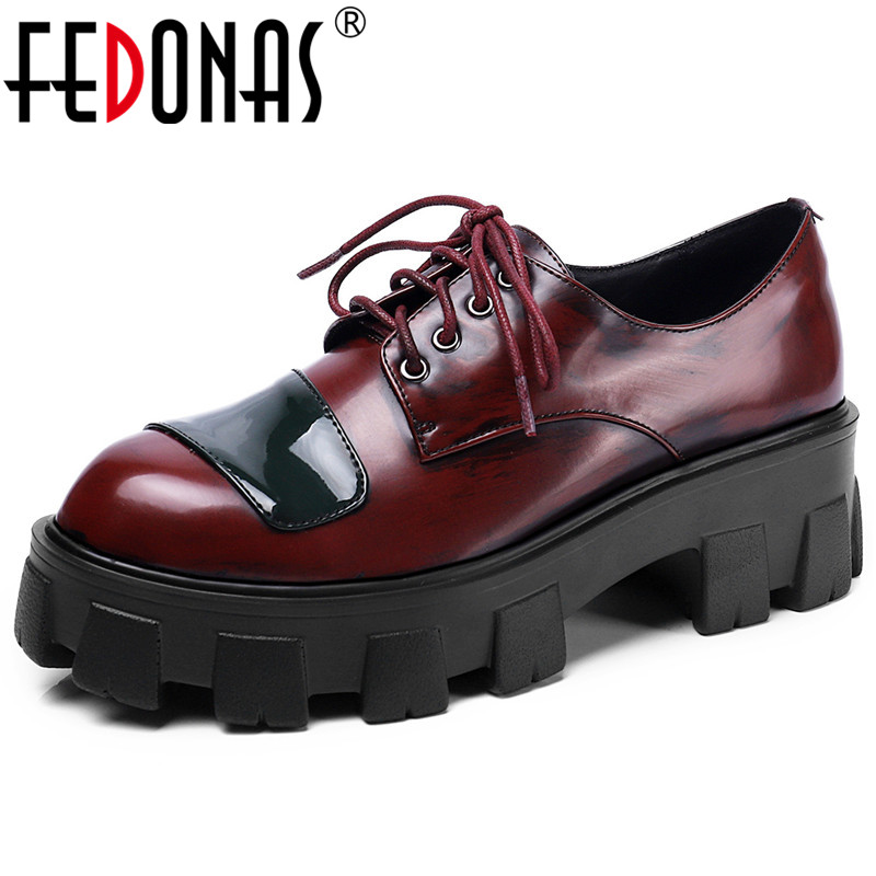 FEDONAS Mixed Colors Patent Leather Female Chunky Heels Party Basic Office Shoes Woman Spring Newest Women Cross Tied Pumps