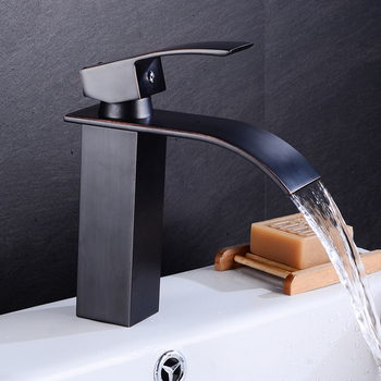 Waterfall Basin Sink Faucet Gold Mixer Tap Bathroom Vanity Vessel Chrome Deck Mount Hot and Cold Single Handle Hole Kitchen 1