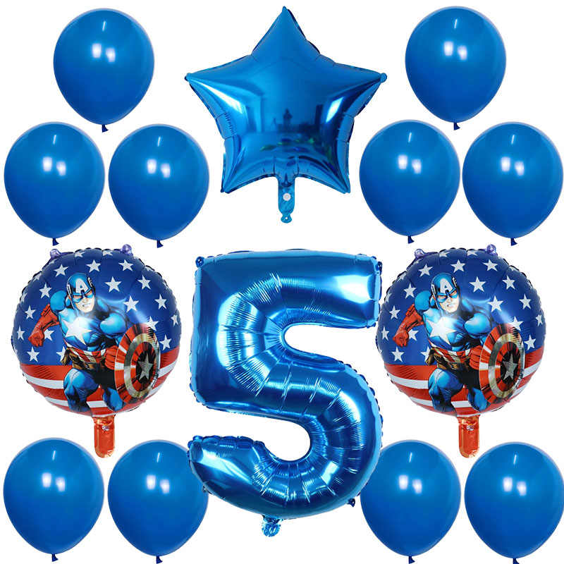 14 Pcs/lot Captain America Balon Foil 30 Inch Nomor Balon Ulang Tahun Pesta Dekorasi Super Hero Mainan Anak Baby Shower Ballon
