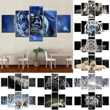 new fashion 5Pcs Tigers Art Painting  Poster Hanging Pictures Set Home Living Room Wall Decor Frameless Tiger Pattern