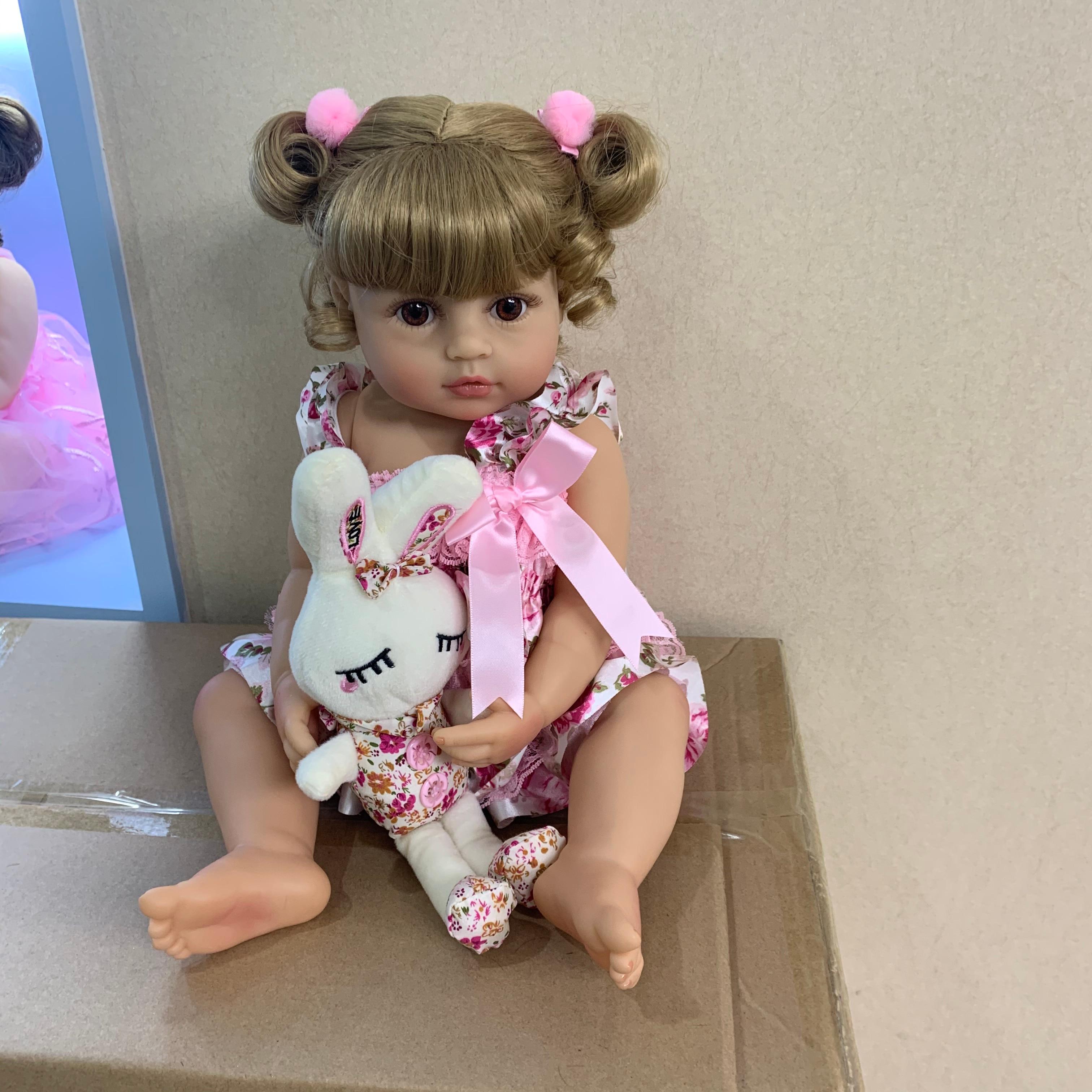 55CM original NPK reborn baby toddler girl princess doll in pink skirt lifelike very soft full body silicone doll bath toy gift(China)