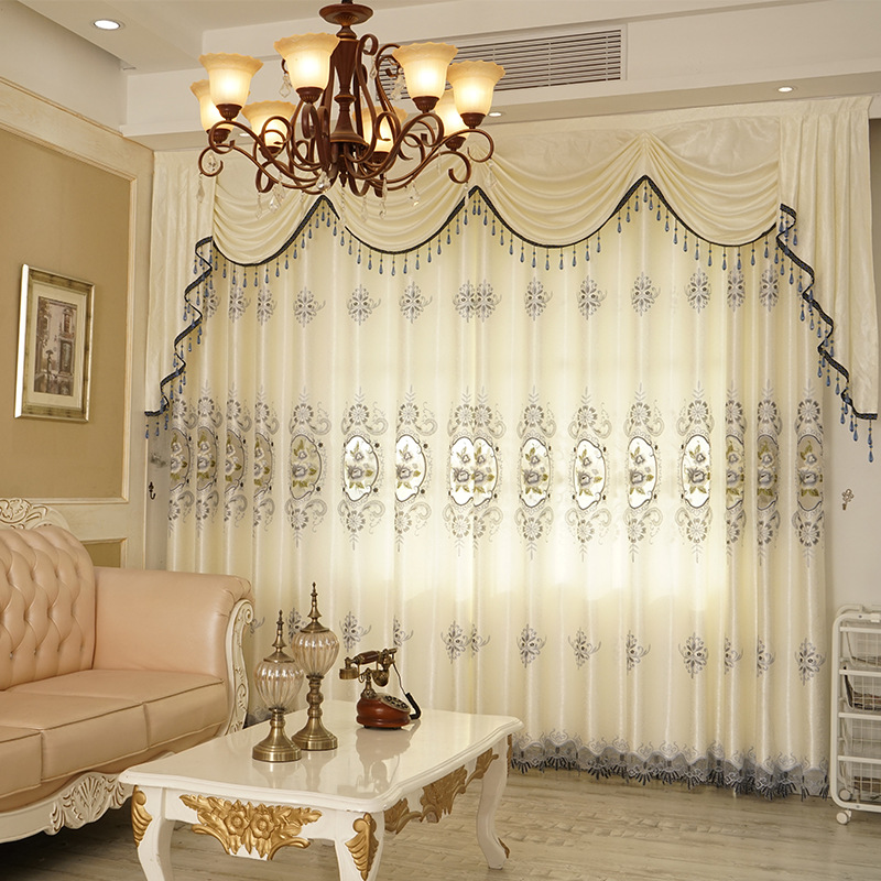 High-grade European Hollow Embroidery Semi-shading Curtains For Living Dining Room Bedroom.