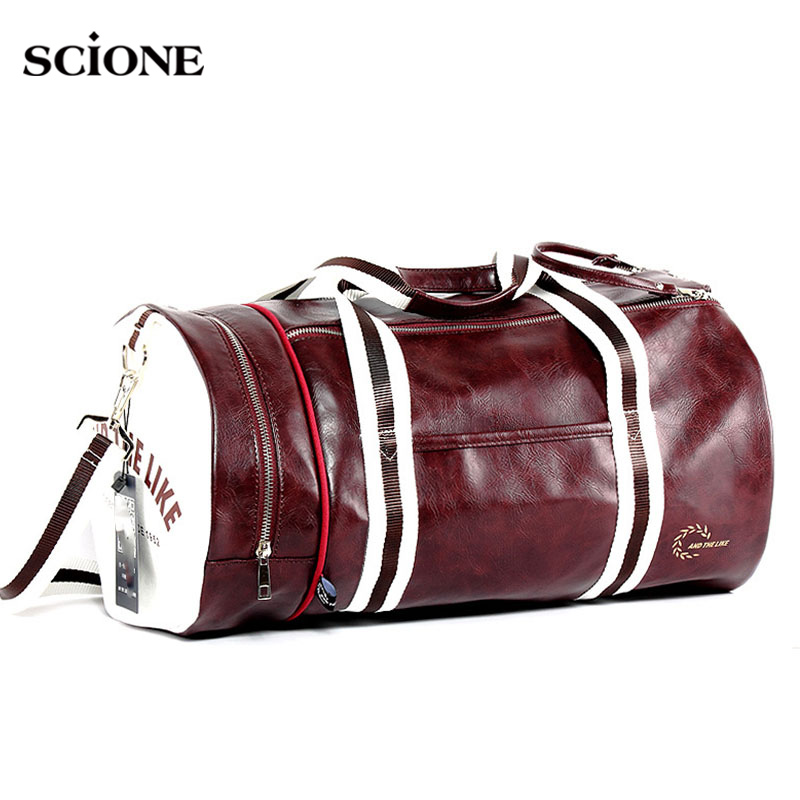 Sport Gym Bag for Women Men Shoulder Bags With Shoes Storage Pocket Fitness Training Waterproof Leather Travel Bag XA175WA