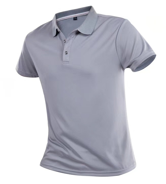 Summer Quick Dry Casual T Shirt Men Breathable Solid Short Sleeve Turn-Down Tops Sportswear Fitness Jerseys Golf T-Shirts 4XL 2