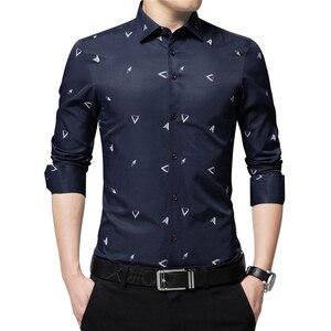 Image 5 - BROWON 2020 новые мужские рубашки с принтом Argyle жаккардовая деловая рубашка для мужчин с длинным рукавом, обычная посадка, нежелезный корейский стиль