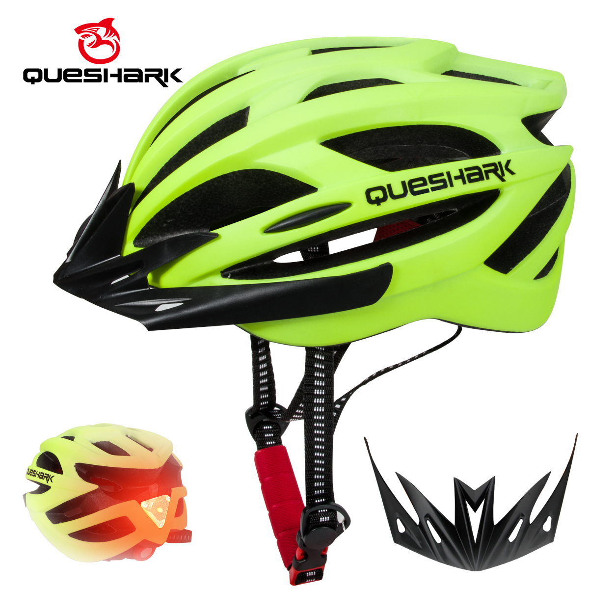 QUESHARK Professional Men Women Cycling Helmet With Taillight Ultralight MTB Bicycle Helmet LED Light M Size 56cm-62cm QE123