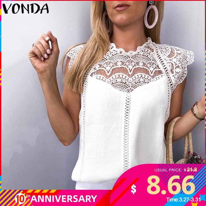 VONDA 2020 Women Blouse Tunic Sexy Sleeveless Lace Shirt OL Office Ladies Shirt Hollow Party Tops Camisas White Blusas Plus Size
