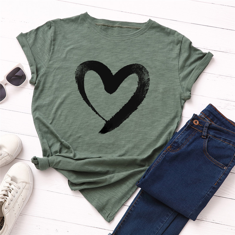 Plus Size S-5XL New Heart Print T Shirt Women 100% Cotton O Neck Short Sleeve Summer T-Shirt Tops Casual Tshirt women shirts(China)