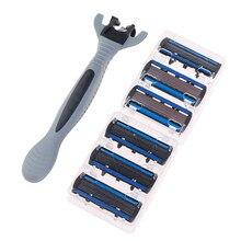 6 kat Razor 1 jilet tutucu + 6 bıçakları yedek tıraş makinesi kafa kaset tıraş jilet seti mavi yüz bıçak adam