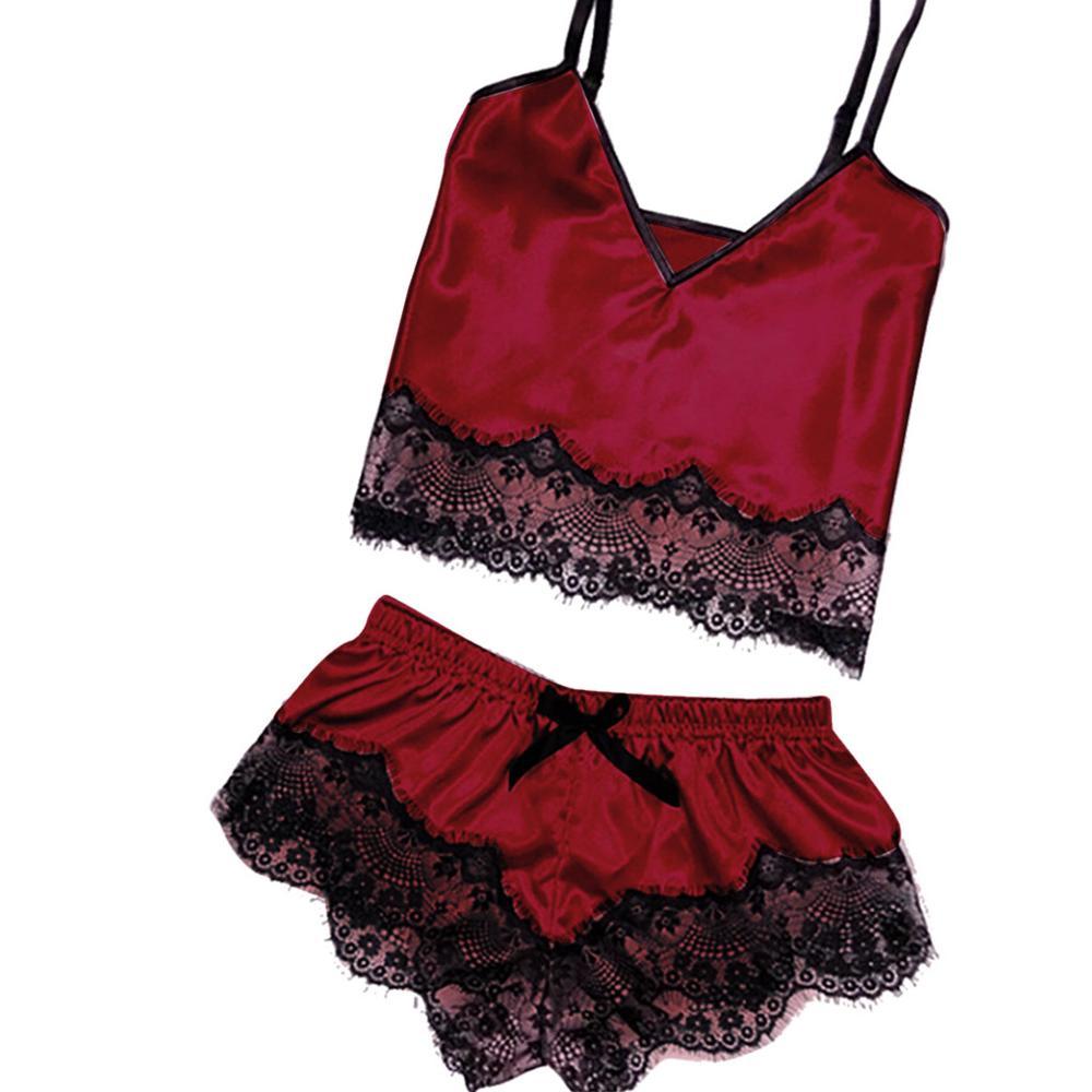 Satin Sleepwear Set For Women Sexy Fashion Solid Color V-neck Sling Shorts Lace Bow Underwear Pyjamas Set Pyjama Femme 2020 Hot