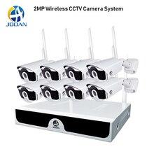 Sistema de vigilância nvr 8ch, sistema de vigilância cctv p2p sem fio 1080p hd nvr com hd 2.0mp, infravermelho à prova d água