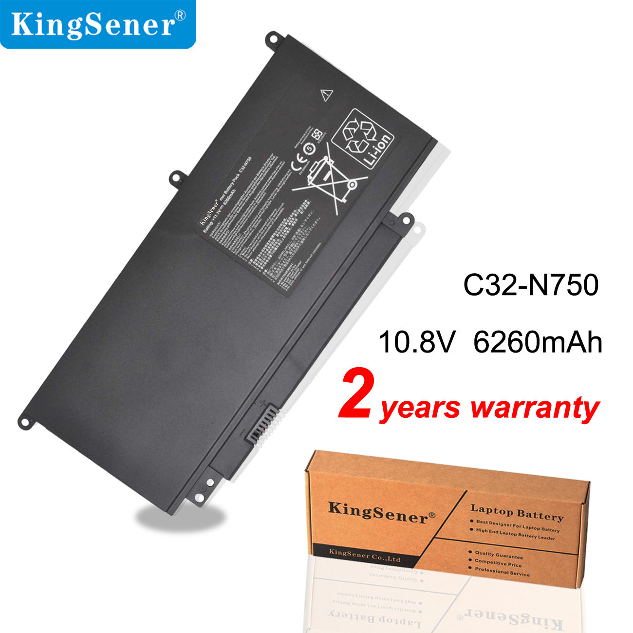 KingSener C32-N750 Laptop Battery For Asus N750 N750J N750JK N750JV N750Y47JK-SL N750Y47JV-SL  11.1V 6260mAh/69WH