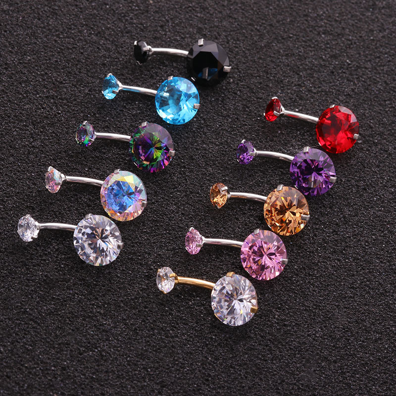 1Pc New Titanium Steel Plated Belly Button Rings with Double Crystal AAA Zircon Barbell Navel Piercing Ombligo Body Jewelry