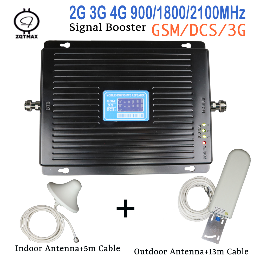 Europe <font><b>2G</b></font> <font><b>3G</b></font> <font><b>4G</b></font> Cell Phone Signal Booster <font><b>75dB</b></font> <font><b>GSM</b></font> 900 <font><b>4G</b></font> LTE 1800 WCDMA 2100 Mobile Cellular Signal Repeater Amplifier Antenna image