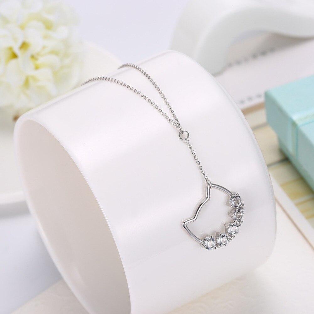 Cute Cat Silver Zirconia Stone for women Necklace CLOVER JEWELLERY