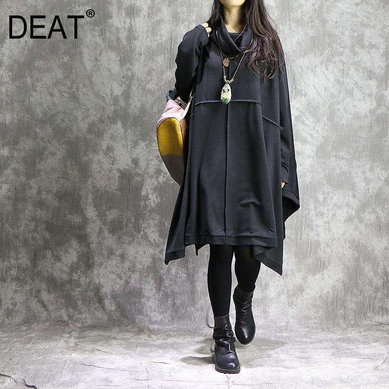 [DEAT] Women Spliced Irregular Oversize Dress New Round Neck Long Sleeve Loose Fit Fashion Tide Spring Autumn 2019 13E186