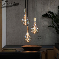 Modern Copper Glass LED Pendant Lights Lighting Nordic Pendant Lamp Dining Living Room Bedroom Home Decor Hanging Light Fixture