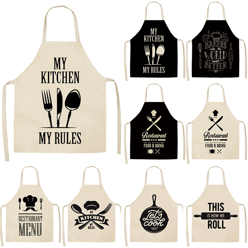 1pcs Letter Alphabet Kitchen Aprons For Women Cotton Linen Bibs Household Cleaning Pinafore Home Cooking Apron 53*65cm WQL0001