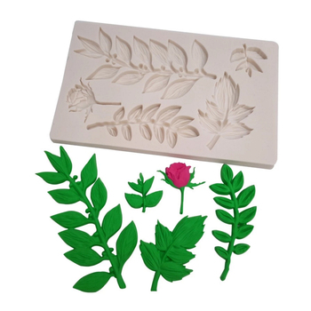 Wholesale 10 pcs Roses and leaves Silicone Mold Sugarcraft Cookie Cupcake Chocolate Baking Mold Fondant Cake Decorating Tools
