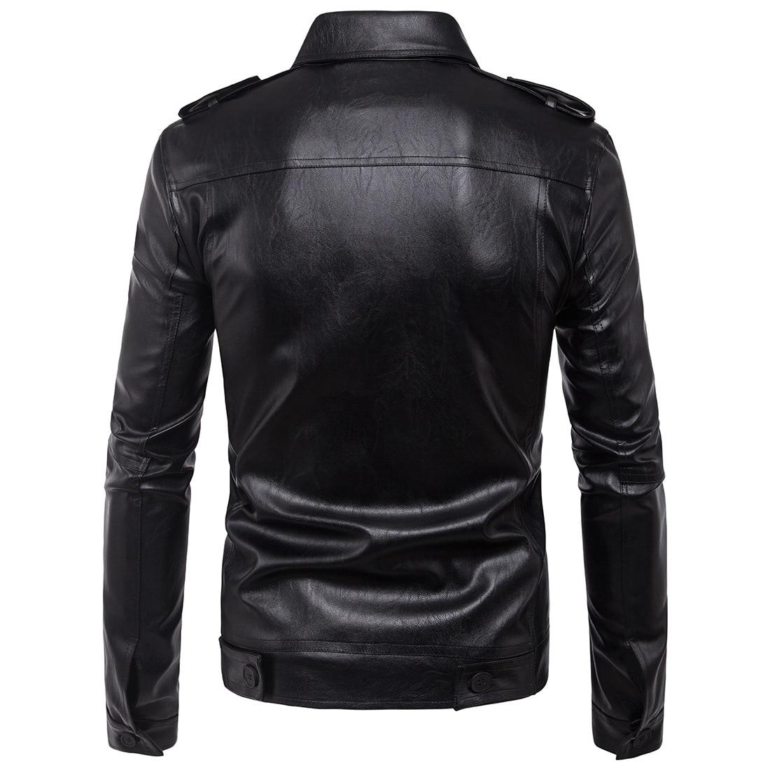Ouma 2017 New Style Europe And America Locomotive Epaulet Pocket Decoration Leather Coat MEN'S Leather Jacket Fashion